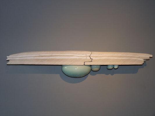 """""""Emergence, faille"""", grès, porcelaine, faïence, émaillée (1m x 18cm x 18 cm)"""