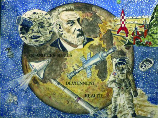 illustration Jules Verne en aquarelle