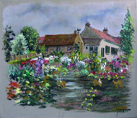 jardin fleuri à Echinghem  en acrylique (vendu)