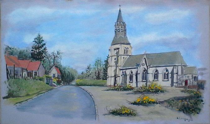 Eglise de Dominois en Acrylique sur toile en lin (vendu)
