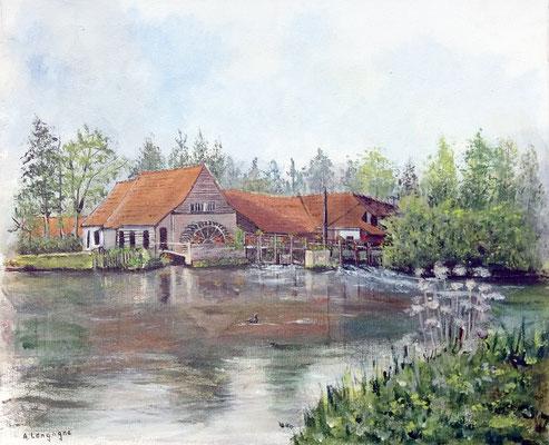 Moulin de Maintenay en Acrylique sur toile en lin (vendu)