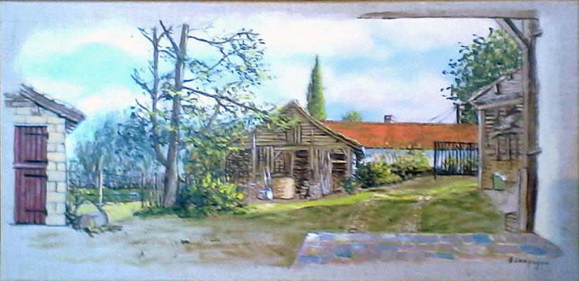 Grange à Dominois en Acrylique sur toile en lin (vendu)