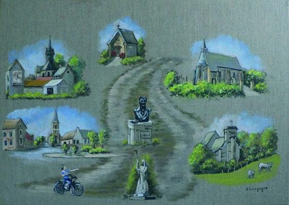 La route de la pierre en acrylique sur toile en lin(à vendre - 160 euros)