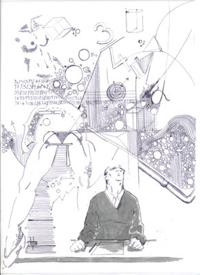 """Buchillustration in """"Fünfundzwanzig"""", Jahresanthologie Kreatives Schreiben und Kulturjournalismus, Universität Hildesheim Edition Pæchterhaus, 2010, ISBN 978-3-941392-14-4"""