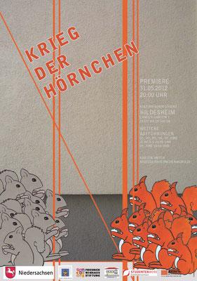 """Plakatgestaltung """"Krieg der Hörnchen"""", Simone Rede Ayivi, Hildesheim"""
