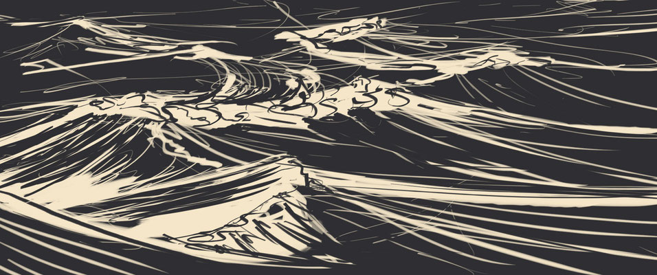 """Storyboardzeichnung zum Animationsfilm """"Sealand"""" (A.T.) für schmalbreit-film, 2016"""