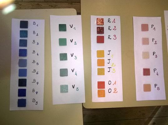 Les différentes couleurs, plus de 40 au total