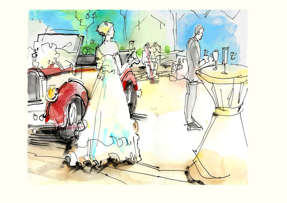 Karikaturistin für Straßenfeste