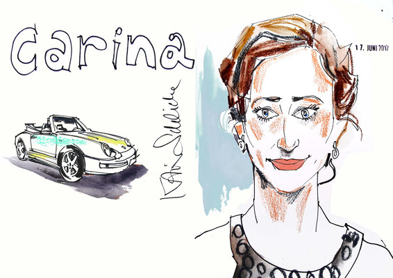 Unternehmenspräsentation mit einem Schnellzeicher in Augsburg ist immer eine gute Option. Karikaturen Ihrer Gäste mit Ihren Produkten - wie z.B. ein Auto von Porsche bleibt den Gästen in Erinnerung und sorgt so für Gesprächsstoff.