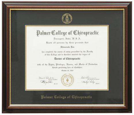Dr.Ban Chiropractic in Osaka, USA Diploma