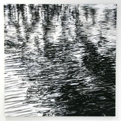 Wasser 02, 2012, Tusche und Acryl auf Leinen, 140x140 cm
