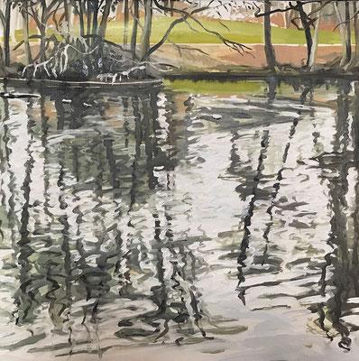 Hangeweiher, 2018, Ölfarbe auf Leinen, 40x40 cm, Private Sammlung DE