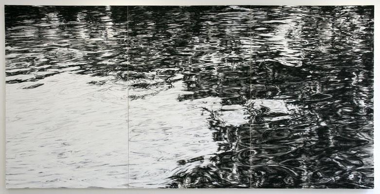 Wasser 03, 2012, Tusche und Acryl auf Leinen, 195x420 cm