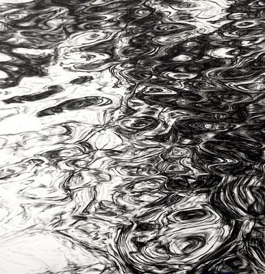 Wasser 04, 2015, Tusche und Acryl auf Leinen, 140x140 cm