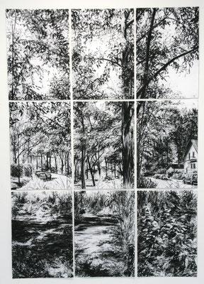 2 Tage, 2012, Kohle auf Papier, 150x95 cm