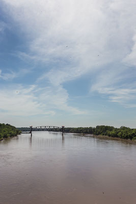 The Katy Trail follows the Missouri River. Booneville, Missouri, USA 7/2014