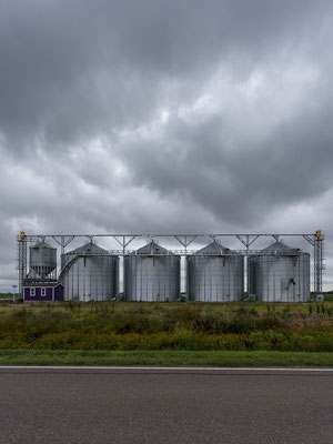 Grain bins on the TransAmerica Trail. Kansas, USA 7/2014