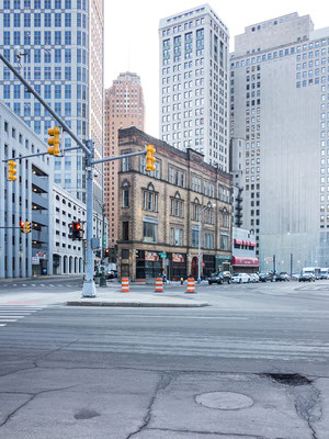 Downtown Detroit: leer. USA 3/2014