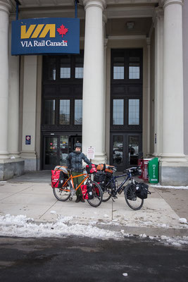 Arrival in Halifax. After a 40 hours train ride we can only do one thing: get on our bicycles. Canada, 03/2014