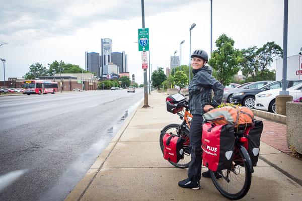 Zurück in Detroit, diesmal mit dem Fahrrad. USA 6/2014
