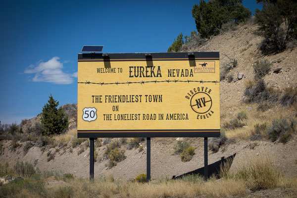 Eureka auf dem Highway 50. Nevada, USA 8/2014