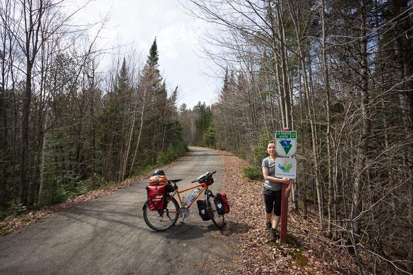 Le P'tit Train du Nord ist Teil der Route Verte. Die Route Verte ist ein riesiges Netz aus Fahrradwegen in Quebec. Kanada 5/2014