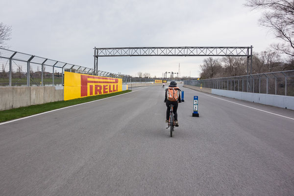 Riding our bikes on the racetrack Circuit Gilles Villeneuve, Montreal. Quebec, Canada 5/2014