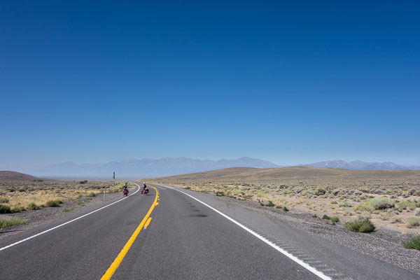 Even on the loneliest highway you can meet a touring cyclist. Nevada, USA 8/2014