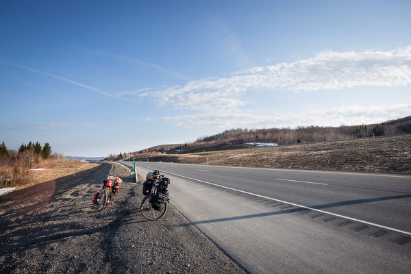 Wonderful cycling on the Transcanada Highway. New Brunswick, Canada 4/2014