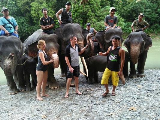 Elefanten waschen in Tankahan