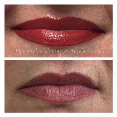 Nahaufnahme/Gegenüberstellung altes Permanent Make-up der Lippe und neue rote Lippenvollzeichnung von A. Schmoll