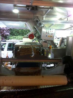 Der Trester hingegen läuft über ein weiteres Fließband aus der Maschine heraus auf einen Anhänger