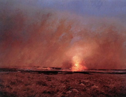 Burning of the Flint Hills - 22 x 28  -  unframed: $45  framed: $140