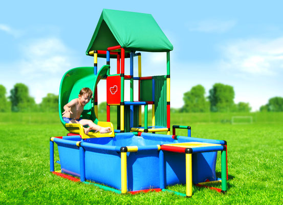 QUADRO UNIVERSAL Junglegym Poolhouse Curved Slide