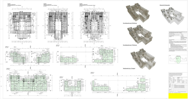 Bewehrungsplan für ein Maschinenfundament