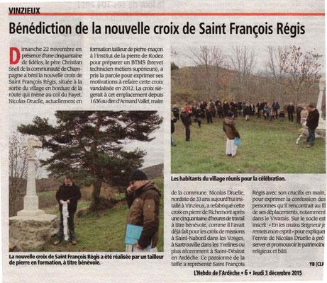 Restitution de la toute nouvelle croix de Saint François Régis