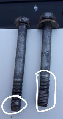 Verborgene Schrauben mit Spuren von Aluminium aus dem Motorblock