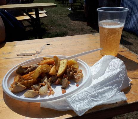 Hähnchen, Kartoffel , Paprika und Perlzwiebeln für 2 Euro