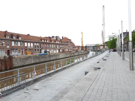 Bauarbeiten an der Schelde, am Rande der Altstadt