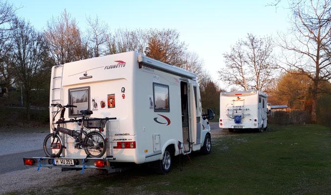 Heutiges Ziel geschafft, der Campingplatz in Dinkelsbühl