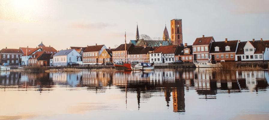 Stadtansicht von Ribe, fotografiert in einer Ausstellung in Ribe