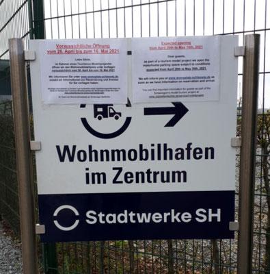 der WoMo-Stellplatz am Stadthafen ist noch geschlossen