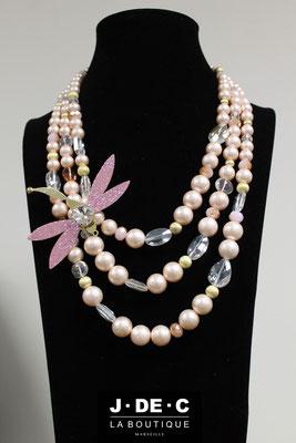 Collier Prestige Libellule Perles Roses - J.DE.C ® La Boutique