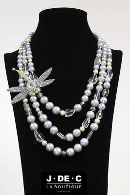 Collier Prestige Libellule Perles Grises - J.DE.C ® La Boutique