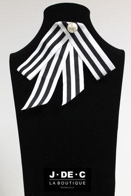 Broche Prestige Ruban Noir et Blanc Perle Nacrée - J.DE.C ® La Boutique