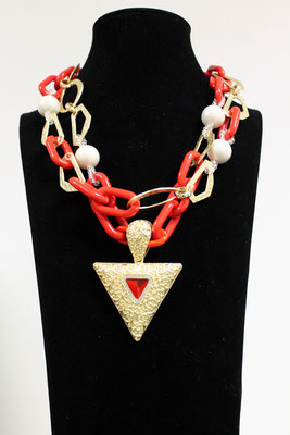 Collier Prestige Or et Eléments rouges - J.DE.C ® La Boutique