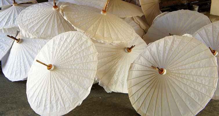 Chiang Mai is famous for different Handicrafts, such as these Umbrellas