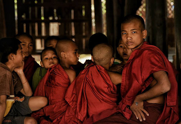Young buddhist novice monks