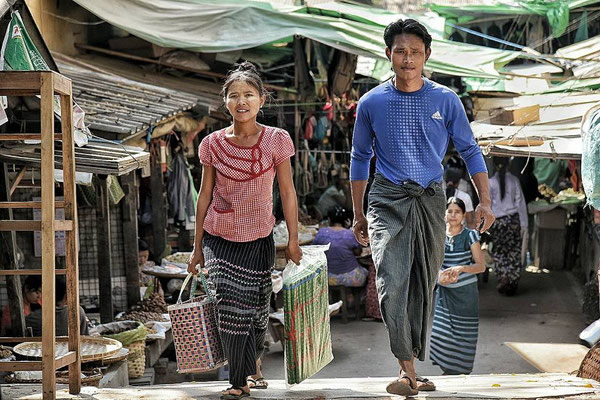 Burmese people on the way to work