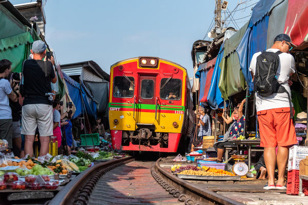 The famous Train Market just outside of Bangkok